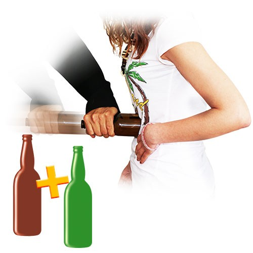 Bottle Thru Body Set for 2 bottles (brown and green)