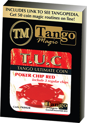 TUC Poker Chip Red plus 3 regular chips by Tango Magic | Zaubertrick