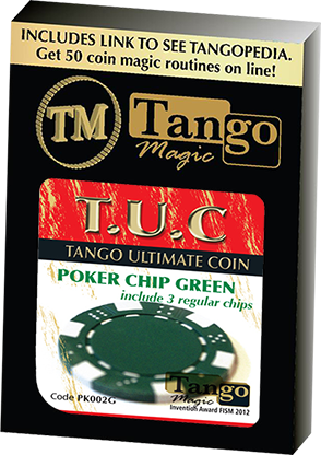 TUC Poker Chip Green plus 3 regular chips by Tango Magic | Zaubertrick