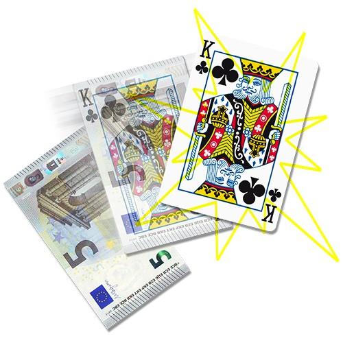 Geldschein zu Karte - Zaubertrick bei Zaubershop-Frenchdrop
